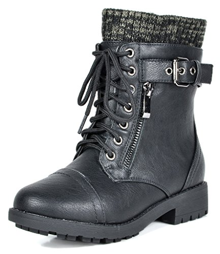 DREAM PAIRS Little Kid Amazon-K Black Girl's Mid Calf Combat Boots Size 1 M US Little Kid