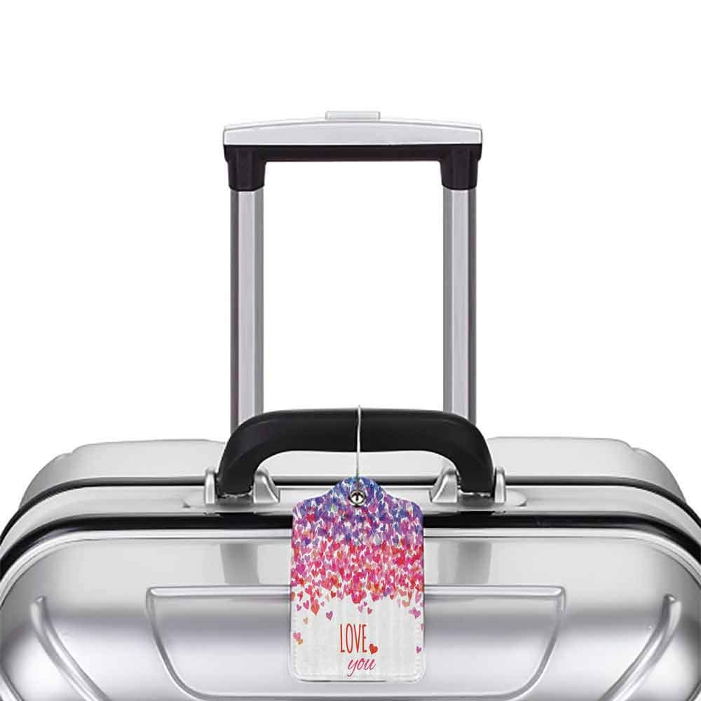 Printed luggage tag Love Hearts and Love You Message Romantic Valentines Day Inspired Springtime Cheerful Art Protect personal privacy Multicolor W2.7 x L4.6