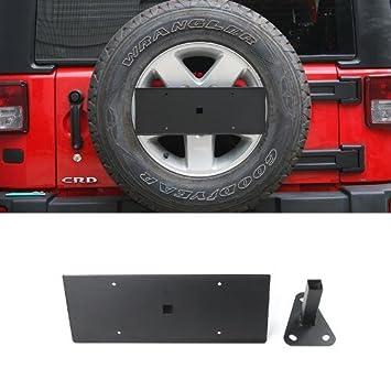 Amazon.es: niceautoitem Metal coche exterior decoración trasera rueda de repuesto de la matrícula Soporte Soporte Fit Para Jeep Wrangler 2007 - 2016