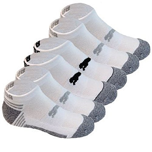 Puma Socks All Sport Cushioned Low Cut - 6 Pack Shoe Size 4 - 9.5 (White/Grey)