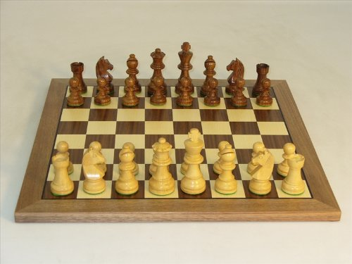 Knight Set Chess German (German Knight in Golden Rosewood Chess Set - Chess Pieces and Matching Chess Board)