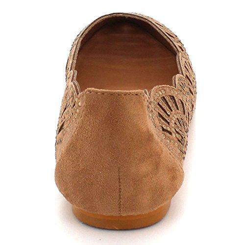 Las Aarz señoras Bailarina tamaño Diamante la Zapatos Plana de los Tarde de Marrón de Ocasional Comfort Marrón la Bomba de de Mujeres Negro la waadrE