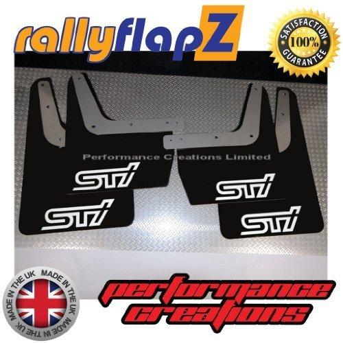 rallyflapZ Akkudeckel zu passen SUBARU IMPREZA Classic Schwarz STI Logo Weiss Performance Creations Ltd