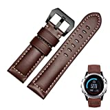 Watch Band; A-store Genuine Leather Watch Replacement Band Strap + Lugs Adapters For Garmin Fenix 3 ( Brown )