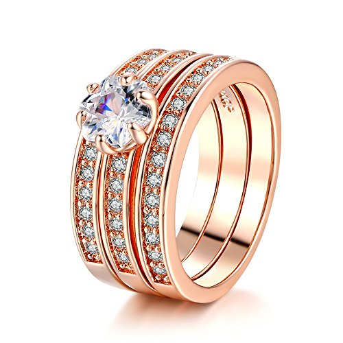 3 Pcs Bridal Sets CZ Diamond Party/Wedding Finger Ring For Womens (Rose Gold, (Rings Ladies Rose Gold Ring)
