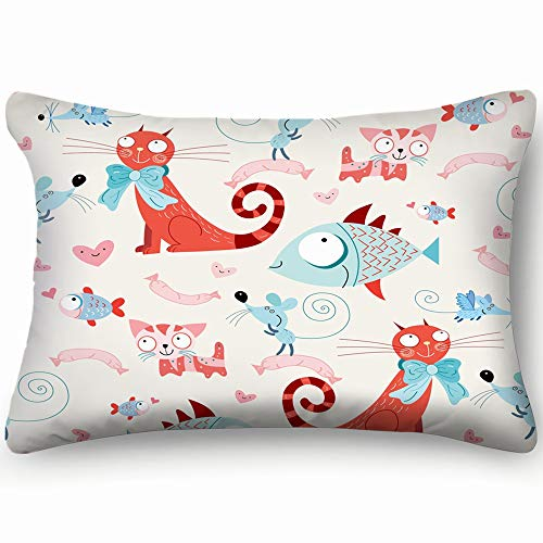 Hpink Decorative Pillow Covers Pattern Cats Fish mice Wallpaper Illustrations Clip Art Cushion Case 20 x 30 Inch 51 x 76 cm