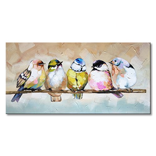 Handmade Bird Family Oil Painting Animal Canvas Wall Art Modern Decor Artwork