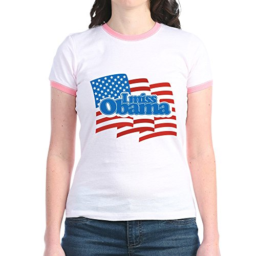 CafePress Miss Obama Flag - Jr. Ringer T-Shirt, Slim Fit 100% Cotton Ringed Shirt Obama Ringer