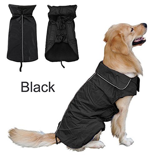 REENUO Waterproof Pet Dog RainCoat Jacket Dog Reflective Night Safety Jacket Hoodies Jumpers Fleece Lined For Warmth Chest Protector Pet Dog Outdoor Clothes Apparel Winter Warm(L,Black) by REENUO