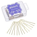 100 Pack of U Shaped Hair Pins Bun Hair Pins with Box and Storage Bag, Golden