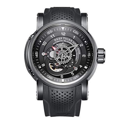 Reef Tiger Unique Automatic Watches Black PVD Case Rubber Strap Sport Watch RGA30S7 (RGA30S7-BBB)
