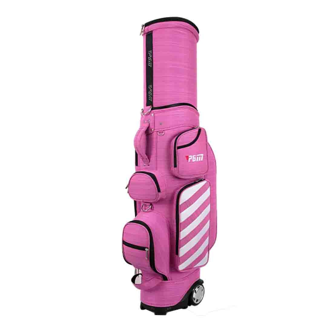 PATENT TELESCOPIC Amazing 2017 New Design Golf Travel Cover Double Use as Golf Stand Bag by HMX-PGM----Ultra Large Capacity (Pink)