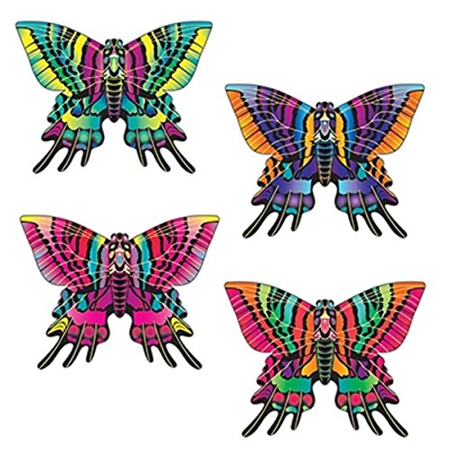 27 Inch Butterfly Shaped Nylon Kites, Set of 12 - Multicolor