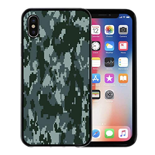 - Semtomn Phone Case for Apple iPhone Xs case,Brown Abstract Digital Pixel Navy Blue Dark Camouflage Pattern Army Camo for iPhone X Case,Rubber Border Protective Case,Black