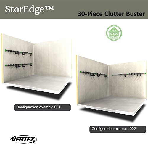 StorEdge 30-Piece Clutter Buster Storage Solution with Super-Duty Track and 24 High Density Organizing Hooks - Clear Space in the Garage, Shed, Workshop and Basement by Vertex (Image #4)