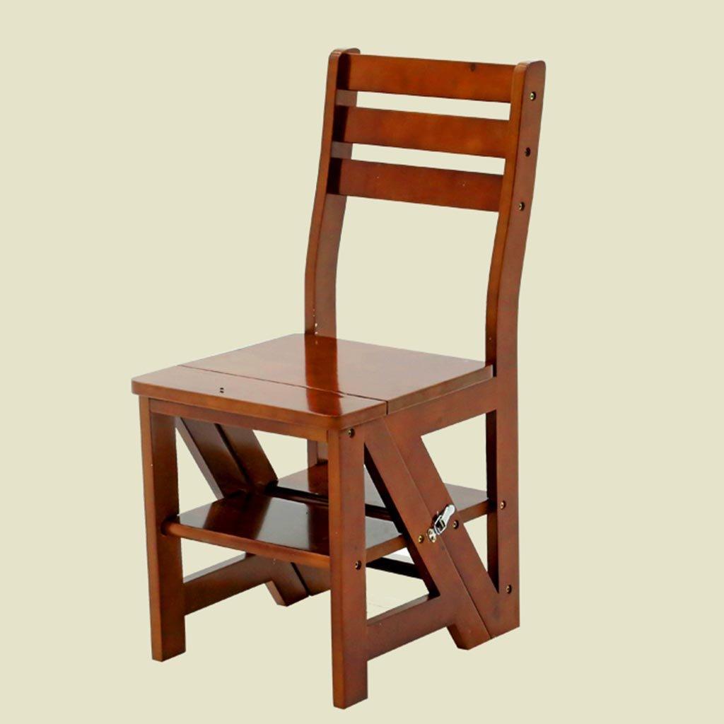 ZCJB Tabouret d'échelle Chaise pliante en bois massif Fauteuil escabeau Chaise pliante à double usage Tabouret escabeau