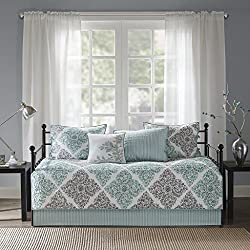 Madison Park Claire Daybed Size Quilt Bedding Set - Aqua, Grey, Leaf Geometric – 6 Piece Bedding Quilt Coverlets – Ultra Soft Microfiber Bed Quilts Quilted Coverlet