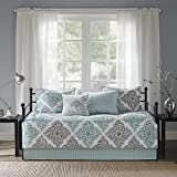 Madison Park Claire Daybed Size Quilt Bedding Set - Aqua, Grey , Leaf Geometric - 6 Piece Bedding Quilt Coverlets - Ultra Soft Microfiber Bed Quilts Quilted Coverlet