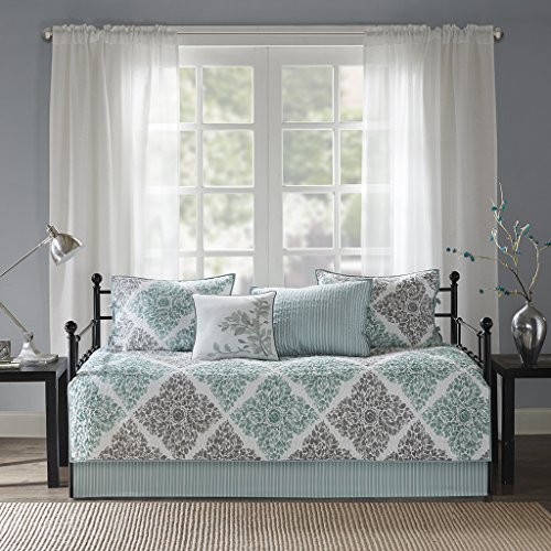 Madison Park Claire Daybed Size Quilt Bedding Set - Aqua, Grey , Leaf Geometric - 6 Piece Bedding Quilt Coverlets - Ultra Soft Microfiber Bed Quilts Quilted Coverlet ()