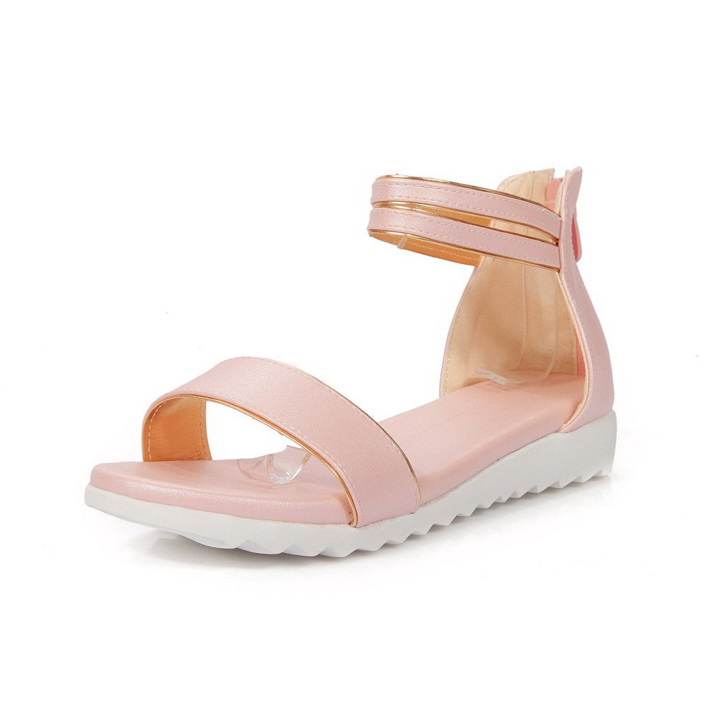 AllhqFashion Women's Solid PU Low-heels Open Toe Zipper Sandals, Pink, 36
