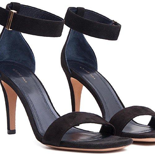 Céline Women's Black Suede Leather High Heel Sandals Shoes - Size: 8 (Celine Leather Heels)