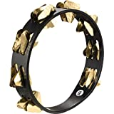Meinl Percussion STA2B-BK 10-Inch Super Dry Studio Tambourine, 2 Rows Hammered Triangular Brass Jingles