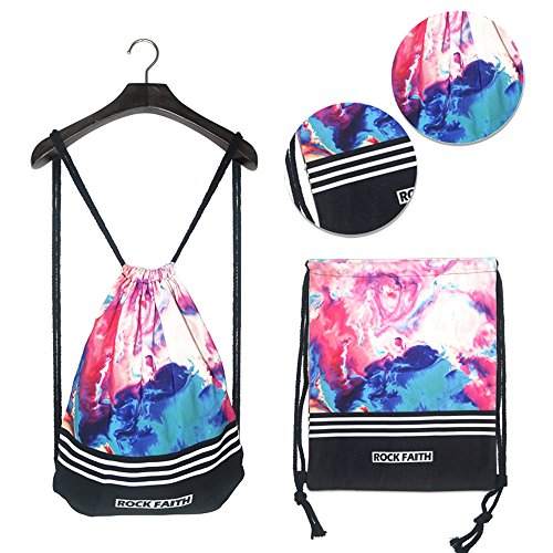 Amazhu Drawstring Backpack Foldable Cinch Sack Basic Sackpack Gym Tote Dance Bag for Swimming Shopping Sports Women Men Boys Girls (Multicolor Black) Review