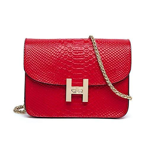 Main à matelassé bandoulière chaîne 8x3x6inch en Sac pour Rouge 20x8x15cm avec Femme Sangle Rouge Sac de métal 4x1AwUw