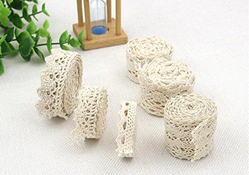 Ialwiyo 5 Yards Handmade Cotton White Lace Trim Applique Sewing DIY Craft Lace Detachable Decorative Crocheted Of Cotton Ribbon (Width: 2cm)