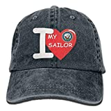 I Love My Sailor Mens Cotton Adjustable Washed Twill Baseball Cap Hat