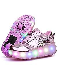 Nsasy Roller Shoes Unisex LED Light up Single Wheel Double Wheel Shoes Kids Inline Roller Skates Boy's Girl's Sneakers
