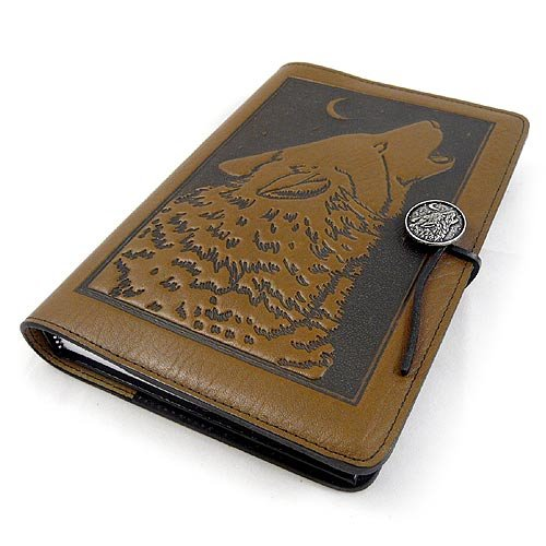 Modern Artisans Howling Wolf American-Made Embossed Leather Writing Journal, 6 x 9-inch + Refillable Hardbound Insert Book (American Native Journal)