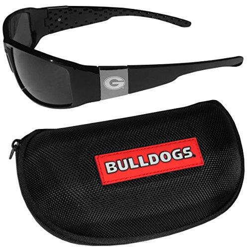 Sunglasses Sport Black Bulldogs - NCAA Georgia Bulldogs Chrome Wrap Sunglasses & Zippered Carrying Case