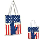 """4th of July portable shopping bag Statue of Liberty Silhouette with Grunge American Flag Backdrop fruit shopping bag Beige Navy Blue Vermilion. 15""""x15""""-11"""""""