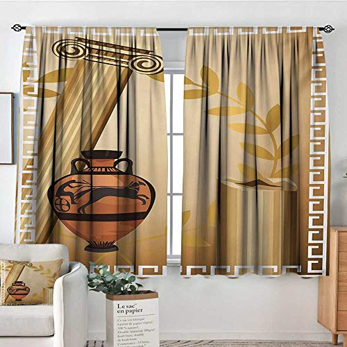 Elliot Dorothy Modern Blackout Curtain Toga Party,Antique Greek Columns Vase Olive Branch Hellenic Heritage Icons,Pale Brown Cinnamon White,Blackout Draperies for Bedroom 55