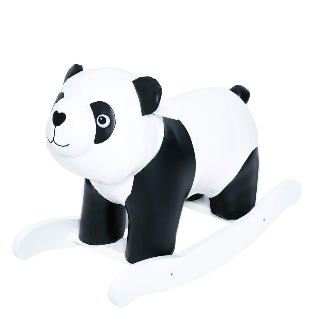 labebe Baby Schaukeltier Panda Leder Schaukelpferd Holz Kinder Schaukelspielzeug Kleinkind Spielzeug Schaukelstuhl ab 1 Jahr