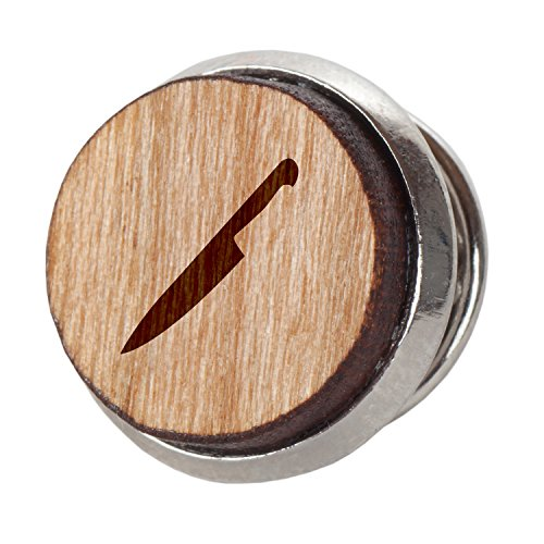 Chefs Knife Stylish Cherry Wood Tie Tack- 12Mm Simple Tie Clip with Laser Engraved Design - Engraved Tie Tack Gift