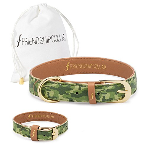 FriendshipCollar Dog Collar and Matching Bracelet Set - Sgt Pup - Vegan Leather - 8 Sizes Available - Every Purchase Helps Feed Hungry Shelter Pups by FriendshipCollar (Image #2)