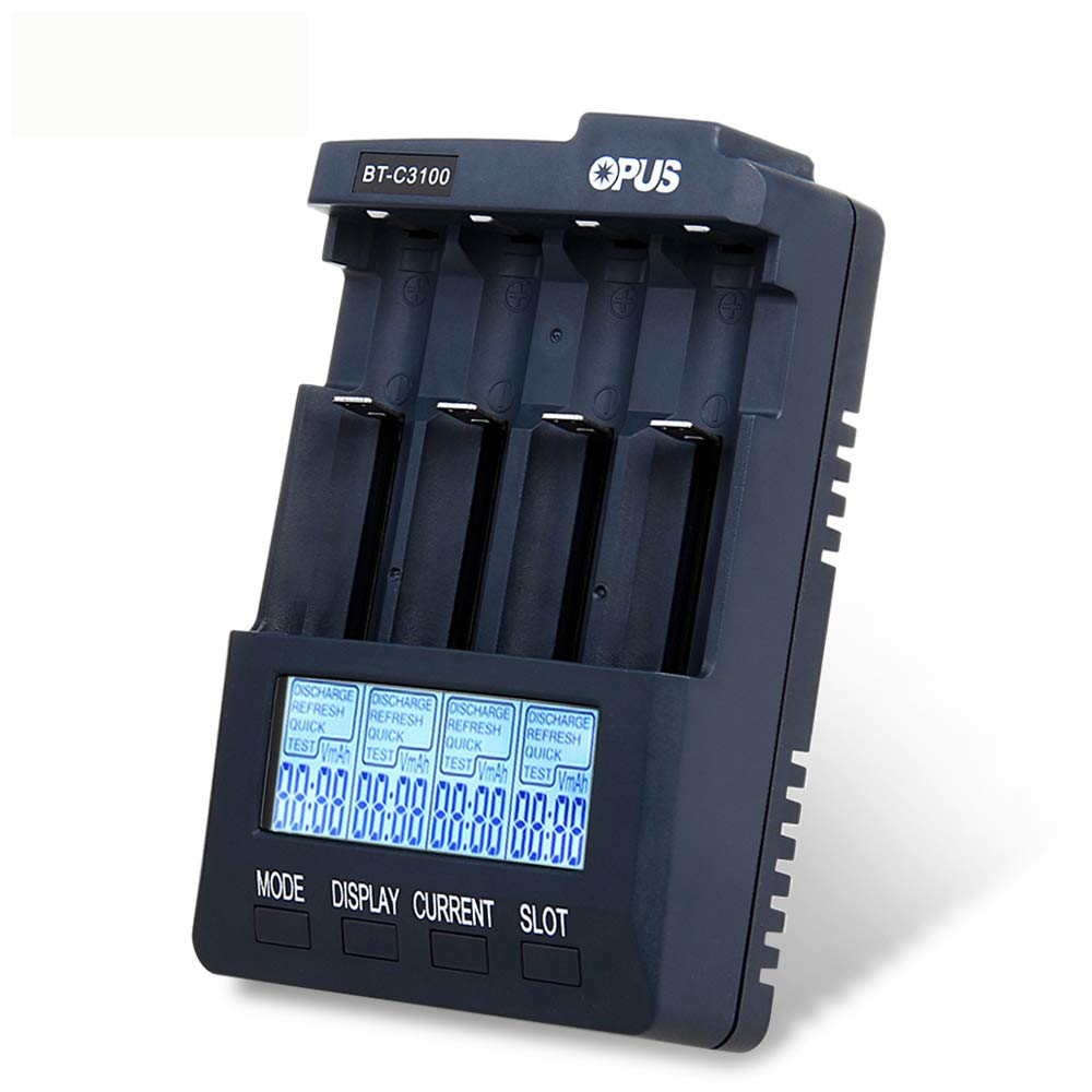Opus BT-C3100 V2.2 100-240V LI-ion NiCd NiMh LCD Smart Intelligent Battery Charger Tester Analyzer With Overheat Detection & Measuring Resistance AAA, AA, 10440, 14500, 16340, 17335, 17500, 18490, 17670, 18650 US126488801M