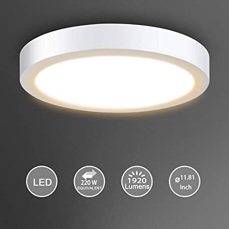 huge discount fd352 ada36 Surface Mount Led Ceiling Light-24W Round Led Panel Light Fixture, 3000K,  Warm White for Kitchen, Closet, Bedroom, Hallway 1920lm, Not-Dimmable(220  ...