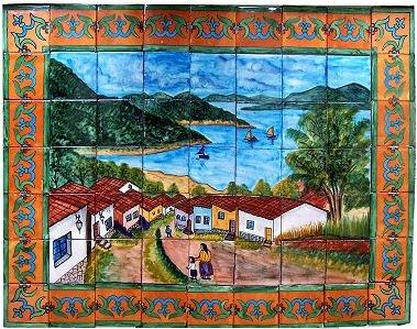 (Fine Crafts Imports Patzcuaro Lake Clay Talavera Tile Mural)