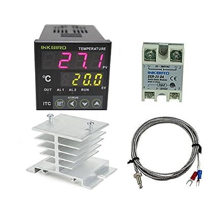 Inkbird Ac 110 - 220v Itc-100vh Digital PID Thermostat Temperature Controller, DA 25A SSR, K Thermocouple, White Heat Sink