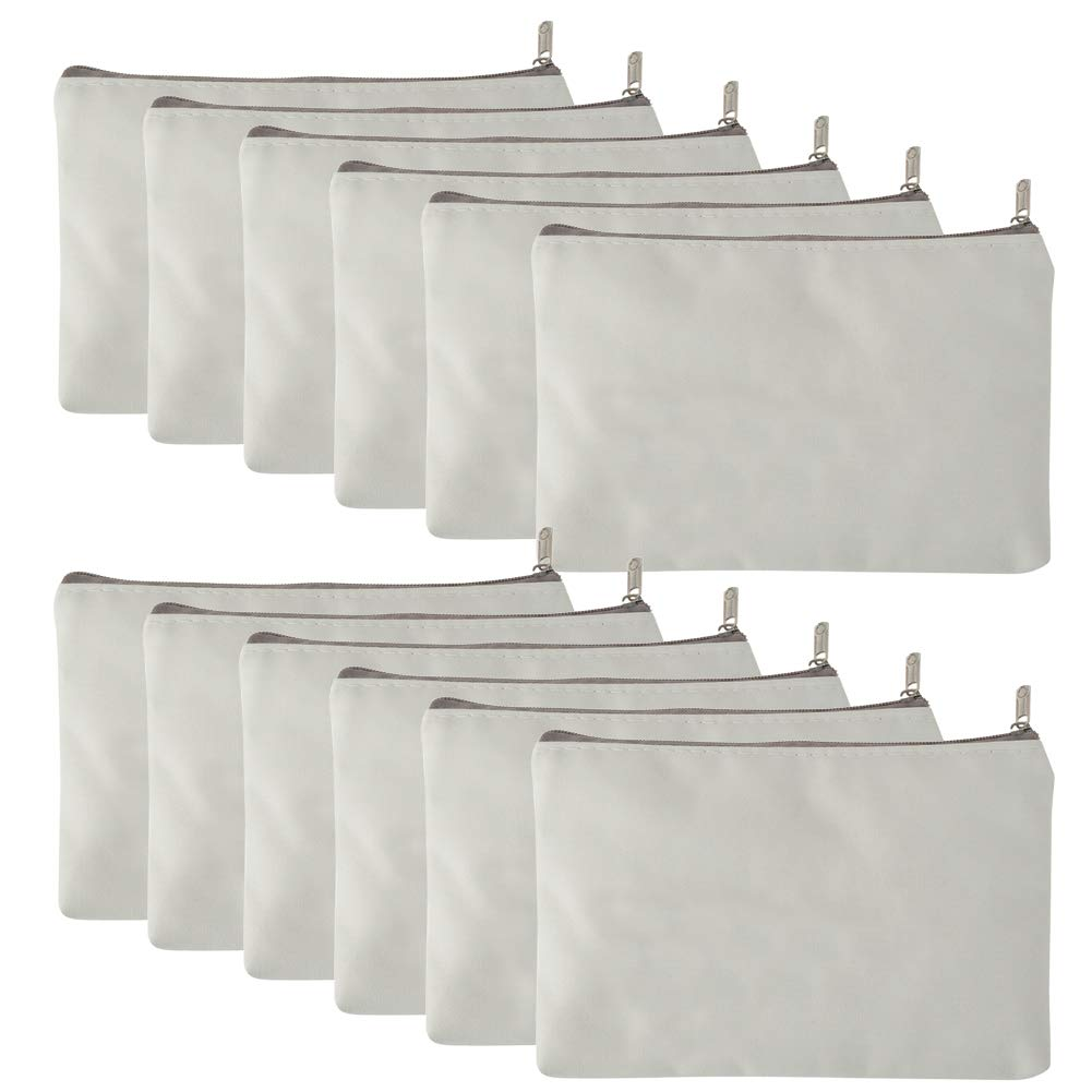 Aspire 12-Pack White Canvas Zipper Bags for Painting DIY Fabric Bag 6 3/4'' x 4 3/4''