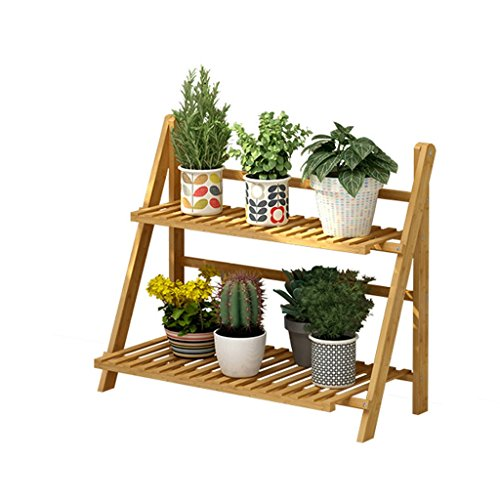 2 Tier Foldable Bamboo Wooden Flower Display Rack, Indoor Flower Stand, Multifunction Retro Plant Stairs for Garden/Indoor/Outdoor/Balcony Flower Shelves (Size : 70x30x56cm)