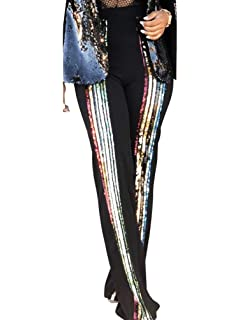 9a0106af Allumk Women's Stretchy High Waisted Wide Leg Button-Down Pants With Sequins