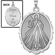 Divine Mercy Doubled Sided Scallopped Oval Religious Medal - 3/4 Inch X 1 Inch -Sterling Silver