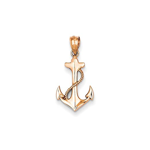 Amazoncom 14K Gold Rose Gold Anchor Pendant 075 in x 051 in