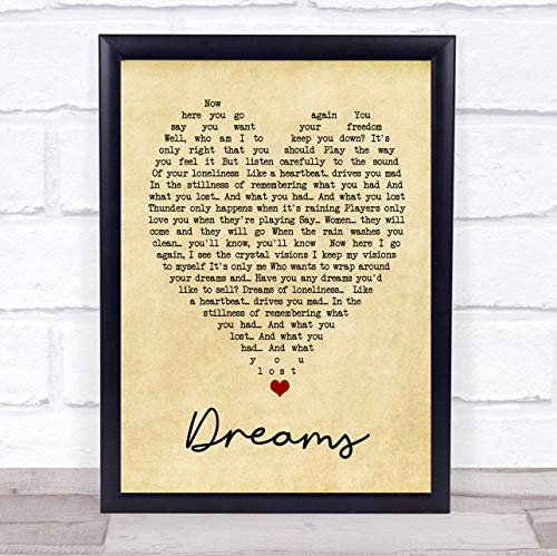 Dreams Vintage Heart Quote Song Lyric Print