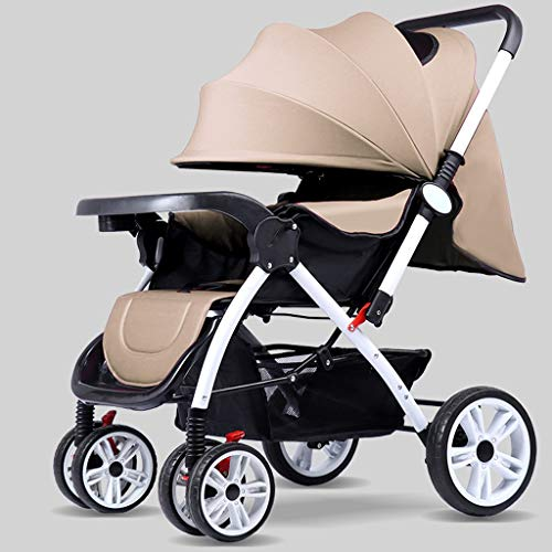 TXTC Multifunctional Pushchair,Compact Convertible Luxury Strollers, Baby Stroller,Portable Pram Carriage ,5-Point Harness and High Capacity Basket (Color : Brown)