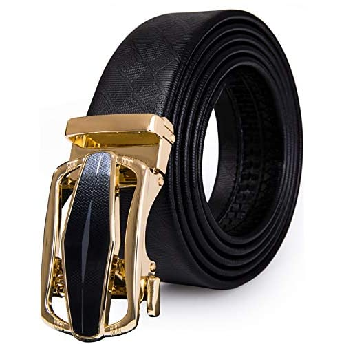 Barry.Wang Belt for Men,Mens Click Ratchet Belt Of Genuine Leather,Trim to Fit